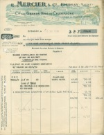 FACTURE LETTRE : EPERNAY . E. MERCIER ET CIE. GRANDS VINS DE CHAMPAGNE . 1930 . - France