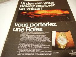 PUBLICITE AFFICHE MONTRE ROLEX  ET VOLCAN 1969 - Jewels & Clocks