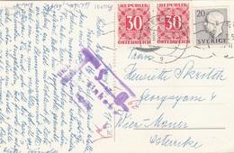 ÖSTERREICH NACHPORTO 1957 - 2x30 Gro Nachporto + 20 Ö + Sonderstempel Auf Ak STOCKHOLM - Portomarken
