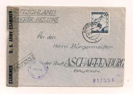 Brief Ohne Inhalt 12.6.1945? Von Linz Nach Aschaffenburg - Mit Zensurstempel - 1945-60 Covers