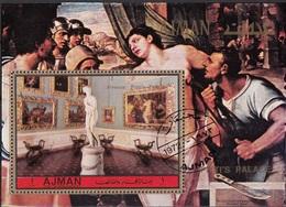 Ajman 1972 Musei Pitti Galleria Palatina Canova Venere Italica S. Del Piombo Martirio Di Sant'Agata Perf. CTO - Religion
