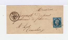 Sur Lettre Second Empire Type I 20 C. Bleu. Oblitération Losange. CAD Millau 1860. (721) - Marcophilie (Lettres)