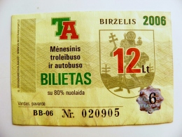 June Month Transport Ticket From Lithuania Vilnius City 2006 Trolley Bus - Season Ticket