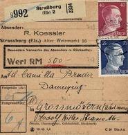 TP N°717 Et 719 Y&T ) Sur Colis Postal De Strassburg Pour Gross-Mövern - Elzas-Lotharingen