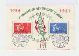Carte FDC Ve Anniversaire émissions Europa.. Oblitération Expo. Philatélique Paris Sept. 1961. (723) - FDC