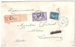 PARIS 51 R Lepeltier Lettre Recommandée 3° Ech Tarif 1 4 1920 60c Merson Violet 25c Semeuse Bleu Yv 140 144 Ob 7 4 1923 - France