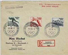 TP N°559/561 ( YT ) Sur Enveloppe Enrecommandé De Garmisch-Partenkirchen Pour Hamburg Avec Cachet TOlympique - Covers & Documents