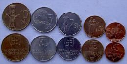 SLOVACCHIA 2003   2007 SERIE 5 MONETE 10-5-2-1 CORONA 50 HAL FDC UNC - Slovacchia