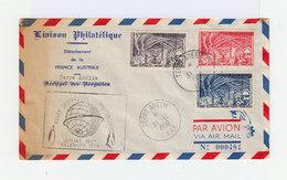 Sur Enveloppe Liaison Philatélique 3 Timbres Terres Australes Et Antarctiques Oblitérés Terre Adélie 1958. (724) - Lettres & Documents