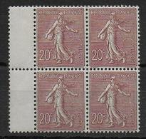SEMEUSE LIGNEE - YVERT N° 131 EN BLOC De 4 **/* - COTE (pour *) = 308 EUR. - 1903-60 Säerin, Untergrund Schraffiert