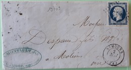 19709# SEINE ET MARNE LETTRE Obl PC NEMOURS 1857 T15 Pour MOLIENS OISE FORMERIE Au Dos - Marcophilie (Lettres)