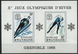 1967 Rwanda, Giochi Olimpici Invernali Di Grenoble, Foglietto Nuovo (**) - Inverno1968: Grenoble