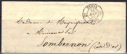 Paris : Timbre De Taxe 2513 - Route 16 (Genève) - 2° Distribution, Pour Sombernon (Cote D'Or) Indice 7, 1852. - Marcophilie (Lettres)