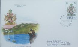 O) 1985 BERMUDA, COAT OF AMRS - JAMES HAMILTON, FDC XF TO US - Bermudes