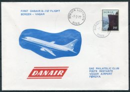 1977 Faroe Norway SAS Danair First Flight Cover. Bergen - Vagar - Faroe Islands