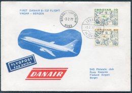 1977 Faroe Norway SAS Danair First Flight Cover. Sorvagur - Bergen, Slania - Faroe Islands