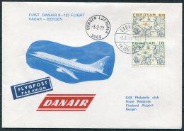 1977 Faroe Norway SAS Danair First Flight Cover. Sorvagur - Bergen. Slania - Faroe Islands