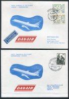 1977 Faroe Denmark SAS Danair First Flight Covers (2) Sorvagur/Copenhagen. Slania - Faroe Islands