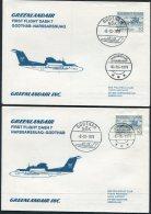1977 Greenland Greenlandair First Flight Covers (2) Godthab/Narssarssuaq. Slania - Greenland