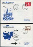 1982 Greenland SAS First Flight Covers (2) Narssarssuaq/Copenhagen Denmark Slania - Greenland