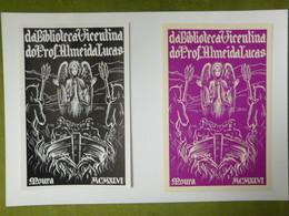 Lot De 2 Ex-libris Illustrés XXème - Portugal - DA BIBLIOTHECA VICENTINA DO PROF. ALMEIDA LUCAS - Ex-libris
