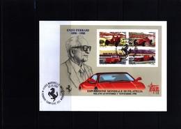 Italy 2000 Enzo Ferrari Block FDC - Automobile