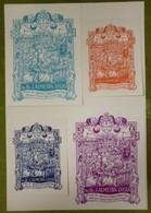 Lot De 4 Ex-libris Illustrés XXème - Portugal - Dr. J. ALMEIDA LUCAS - Ex-libris