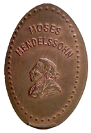 01331 GETTONE TOKEN JETON ELONGATED PENNY MOSES MENDELSOOHN - Elongated Coins