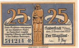 Deutschland Notgeld 25 Pfennig Mehl504.1 HALBERSTADT /39M/ - Lokale Ausgaben