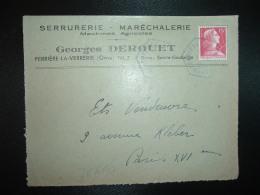 DEVANT TP M.DE MULLER 15F OBL. HEXAGONALE Tiretée 1-6 1956 FERRIERE LA VERRERIE ORNE (61) Georges DEROUET SERRURERIE - Marcophilie (Lettres)