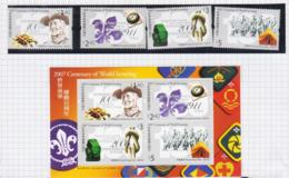 HONG KONG - 2007 - SCOUTS CENTENARY SET OF 4 + S/SHEET MINT NEVER HINGED - 1997-... Chinese Admnistrative Region