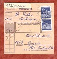 Paketkartenteil, MiF Brandenburger Tor Berlin, Molbergen Nach Greven 1972 (58215) - Covers & Documents