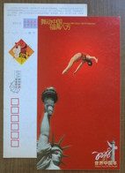 Female Gymnast,Artistic Gymnastics,the Statue Of Liberty,CN 08 Chinese Year Of The World Advert Pre-stamped Card - Gymnastics