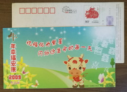 Orchid Flowers,butterfly,cartoon Cattle,China 2009 Jiangsu Post Lunar New Year Of OX Year Greeting Pre-stamped Card - Orchids