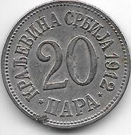 *serbia 20 Para  1912 Km 20   Vf - Serbie