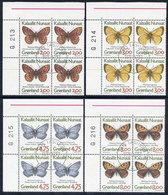 GREENLAND 1997 Butterflies  In Used Corner Blocks Of 4.  Michel 301y-304y - Greenland