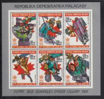 Madagascar 1987 MNH Scott #799-#804 Sheet Of 6 Sports Calgary Winter Olympics - Madagascar (1960-...)