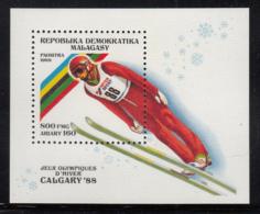Madagascar 1988 MNH Scott #851 Souvenir Sheet 800fr Ski Jumping Calgary Winter Olympics - Madagascar (1960-...)