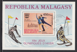Madagascar 1975 Used Scott #C151 450fr Pairs Figure Skating Innsbruck Winter Olympics - Madagascar (1960-...)