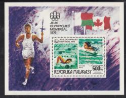 Madagascar 1976 Used Scott #C156 500fr Swimming Montrel Summer Olympics - Madagascar (1960-...)