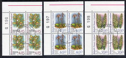 GREENLAND 1996 Arctic Orchids II  In Used Corner Blocks Of 4.  Michel 284y-286y - Greenland