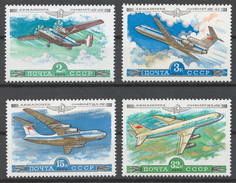 USSR 1979 Sol# 4961-64** CIVIL AVIATION, AEROFLOT PLANES - Ongebruikt