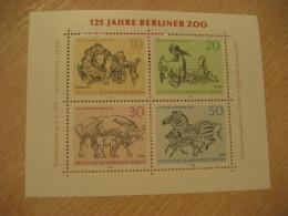 BERLIN Germany 1969 Yvert 2 ** Unhinged Bloc ORANG-UTAN Orang Utan Orangutan Pelikan Gaur Zebra Elephant ZOO - Chimpanzés