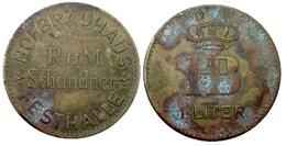 05295 GETTONE TOKEN JETON VENDING KANTINE HOFBRAUHAUS FESTHALLE RUM SCHANDNER HB 1 LITER - Allemagne