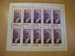 FUJEIRA 1970 Cancel Air Mail Bloc 10 Stamp Sheet KONRAD ADENAUER Chancellor - Célébrités