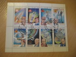 DHUFAR 1972 Cancel Bloc 8 Stamp Sheet Sir Winston CHURCHILL De Gaulle Kennedy Adenauer Space Spatial - Sir Winston Churchill