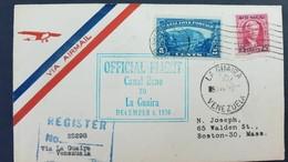 O) 1928 CANAL ZONE -OFFICIAL FLIGHT TO LA GUAIRA, US POSSESSIONS - GAILLARD CUT SCT 107 5c BLUE, MAJ GEN. GEORGE WASHING - Canal Zone