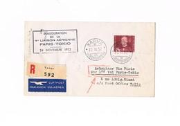 Liechtenstein - First Flight - Inaugration De La 1 Liaision Aerienne - Paris - Tokyo - 1952 - Posta Aerea