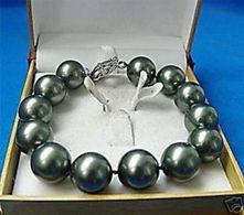 """Charmant! Rare 12mm Le Bracelet 7.5 De Perle De Coquillage Noir Du Sud """"AAA + 4 EUROS - Bracelets"""