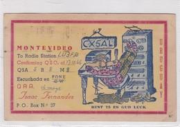 BEST 73 ES GUD LUCK. MONTEVIDEO, URUGUAY, CX5AQL CIRCULEE SANTA FE, ARGENTINA YEAR 1946. BANDELETA PARLANTE- BLEUP - Radio-amateur